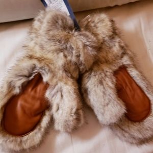 FLUFFY FUR MITTENS. only pair left in stock!
